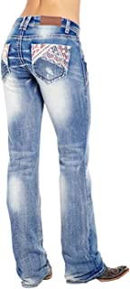 Sponsored Ad - Women's American Flag Embroidered Bootcut Jeans Classic Stretchy Mid Rise Denim Pants with Pockets Trouser...