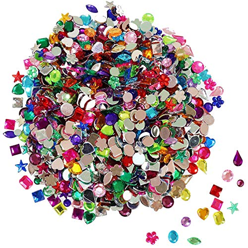 FADIKX 1200 Pcs Acrylic Flatback Rhinestones,12 Different Shape Gems for DIY Craft Jewels Gemstone Wedding Birthday Decoration (6-13mm)
