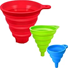 Best Kitchen Funnels Set of 3, Collapsible Funnel, Funnels for Filling Bottles and Jars, Food Grade Silicone Funnel 3 Different Sizes, Large, Medium and Small Review