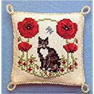 Textile Heritage Pincushion Counted Cross Stitch Kit - Poppy A Posy of Cats