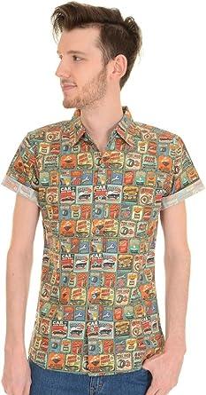 Run & Fly Hombre Años 50 Años 60 Vintage Coche Garaje Camisa Manga Corta