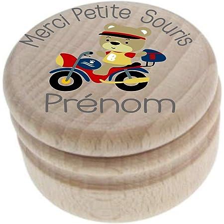 Boite à Dents de Lait en bois - Made in France – Personnalisée avec le prénom de l'enfant + Texte personnalisable – dessin d'une Moto - Boîte à offrir en cadeau à un garçon – petite souris