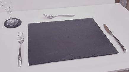 Preisvergleich für 4 Stk Natur Schieferplatte 40x30cm | behauen Kante Servierplatte Tischset mit Lebensmittecht Versiegelung | Gummifüße