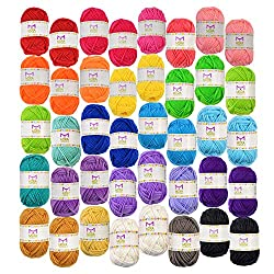 Basic Miniature Yarn Pack – 40 yarn bonbon skeins 100% acrylic - total of 875 yards (800 m) colorful hobby yarn! Exciting variety! Multiple skeins of the most commonly used colors – With this simple pack you get the most of it! Hand Folded Yarn Balls...