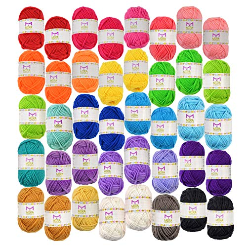 40 Assorted Colors Acrylic Yarn Skeins with 7 E-Books - Perfect for Any Knitting and Crochet Mini Project