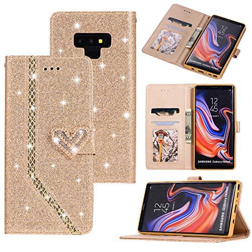 Ostop Hülle für Samsung Galaxy Note 9,Glänzend Leder Brieftasche Handyhülle,Kristall Kartenfach Stand Klapphülle 3D Diamant Perle Herz Muster Magnetverschluss Schutzhülle,Gold Glitzer