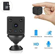 Mini Spy Camera, 3.0 Megapixel FHD 1080P WiFi Surveillance Camera Wireless Hidden Live Streaming, Upgraded Motion Activated/Night Vision IP Nanny Security Cam for Home/Outdoor,Included 32GB Storage
