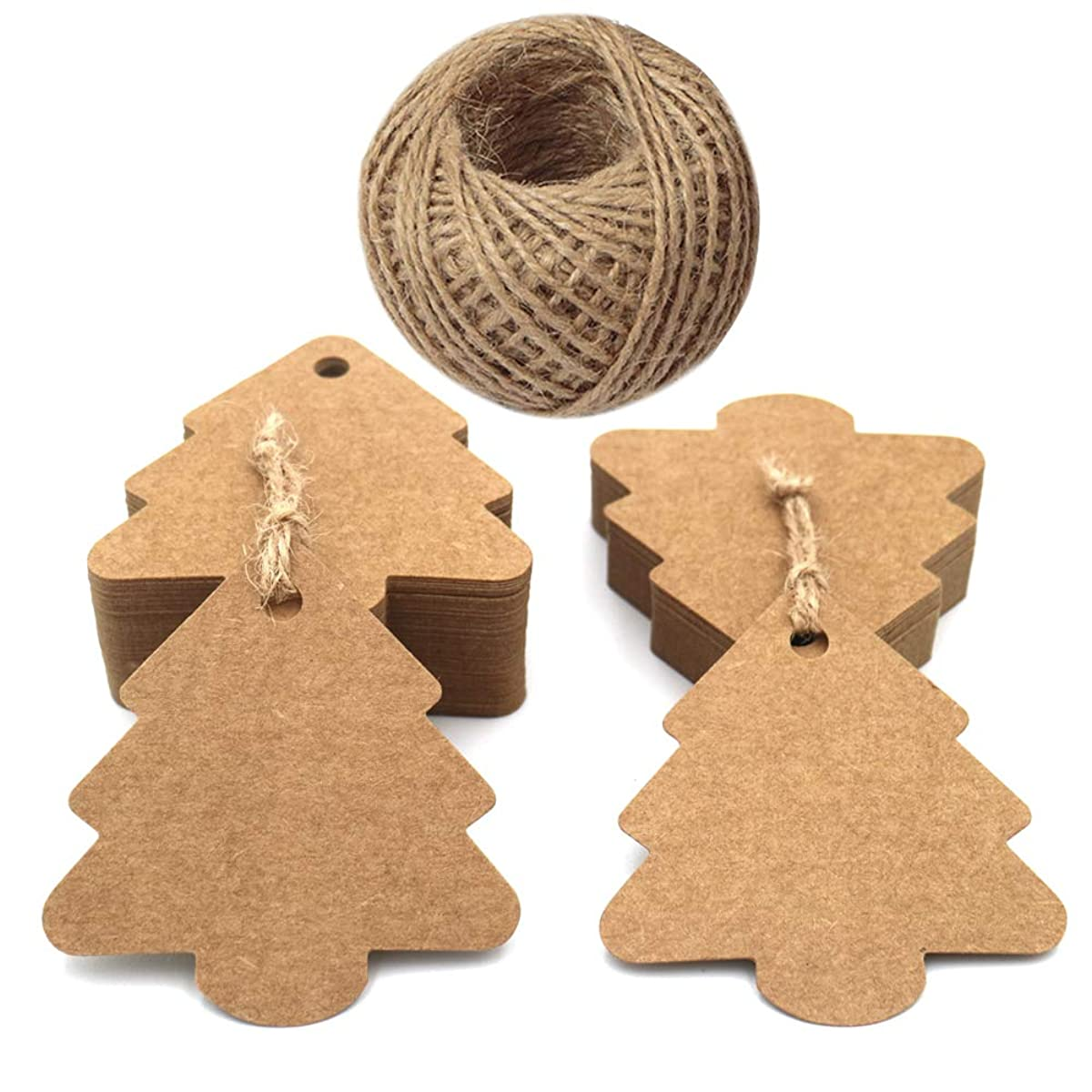 100 PCS Kraft Paper Gift Tags Christmas Tree Shape Brown Kraft Hang Tag Bonbonniere Wedding Favor Gift Tags with Jute Twine 30 Meters Long for DIY Crafts & Price Tags