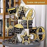 Blulu Geburtstag Party Dekoration Set Goldene Geburtstagsparty Herzstück Sticks Glitter Tischdekoration für. Geburtstagsparty Lieferungen, 24 Packungen (50 Jahre Geburtstag) - 4