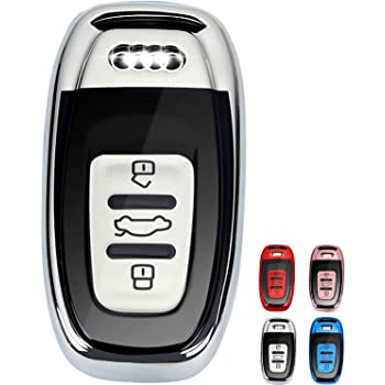 Tukellen for Audi Key Fob Cover Case,Premium Soft TPU 360 Degree Full Protection Key Shell Key Case Cover Compatible with Audi A4L A6L Q5 A5 A7 A8 S5 S7 Keyless Entry/_ Red