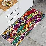 GEEVOSUN Bohemia Colorido Vintage Boho Mandala Patrón Floral Trible étnico Indio Alfombrillas de Cocina Antideslizantes Felpudo Lavable Juego de Alfombras de Microfibra