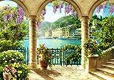 wandmotiv24 Fototapete Hafen Stadt Säulen XL 350 x 245 cm - 7 Teile Fototapeten, Wandbild, Motivtapeten, Vlies-Tapeten Mediterran, Antik, Blumen M1104