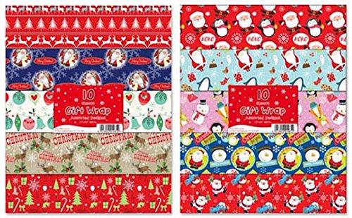 250 fogli di carta regalo natalizia, motivi assortiti