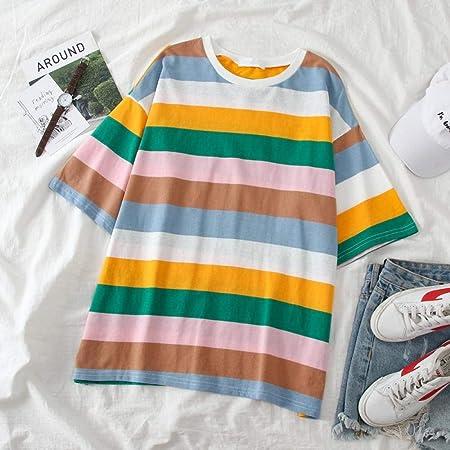 Camiseta Pareja Ropa Rainbow Stripe Tops Camiseta Mujer ...