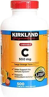 Kirkland Vitamin C (500 mg), 500-Count, Tangy Orange, Chewable Tablets