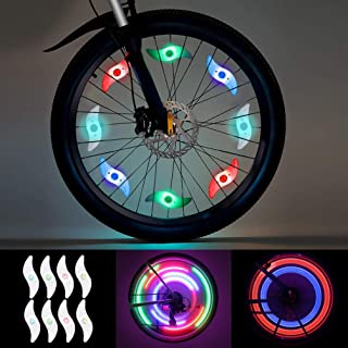 LEDGLE Updated Colorful Bike Wheel Lights Spoke Light 8 Pack LED Waterproof Tire Lights for Bicycle Decoration, 3 Lighting Modes, Battery Powered, Batteries Included