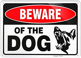 Beware of Dog Sign Funny Large 10x14 inch Rust Free 30 mil Thick Aluminum,UV Printed Weather Resistant Ink,Easy to Mount for Fence