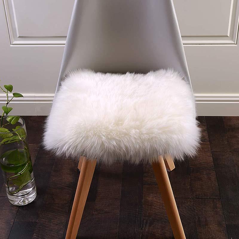 Faux Fur Cushion Villsure Super Soft Sheepskin Seat Cover White Rugs Car Sofa Chair Pet Pad Throw Area Rug For Auto Office Kitchen Home 18x18 Inch