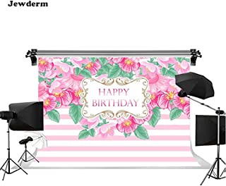 Jewderm 10x6.5ft Happy Birthday Day Photo Backgrounds Pink Flowers Girly Sweety Stripes Photography Backdrops Cake Table Children Kids Newborn Baby Shower Birthday Party Booth Props