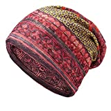 Women's Cotton Ethnic Plaid Multifunctional Beanie Hat Scarf Vintage Turban Orange