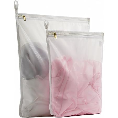 TENRAI Delicates Laundry Bags, Bra Fine Mesh Wash Bag for Underwear, Lingerie, Bra, Pantyhose, Socks, Use YKK Zipper, Have Hanger Loops (White, 1 Large & 1 Medium)