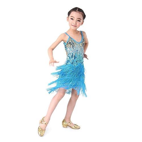 5788b752be11 SymbolLife Girls Latin Dance Dress, Children Kids Sequin Fringe Stage  Performance Competition Ballroom Dance Costume