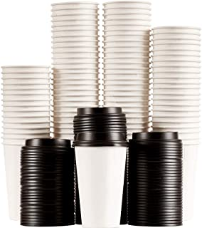 16oz Disposable Hot Cups With Lids - To Go Coffee Cups (100 Set) With Compatible Black Lids To Prevent Leaks. Cups Hold Hot, Cold Beverages (White)