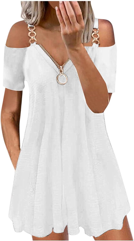 Smooto Women's Midi Dress Casual V-Neck Short Sleeve Strap Sexy Zipper Dresses
