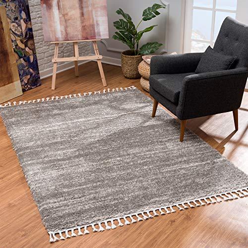MyShop24 Teppich Wohnzimmer Shaggy - Grau Meliert 240x340cm - Deko Schlafzimmer Hochflor mit Fransen Flauschig - Oeko Tex 100 Standard - Allergiker geeignet
