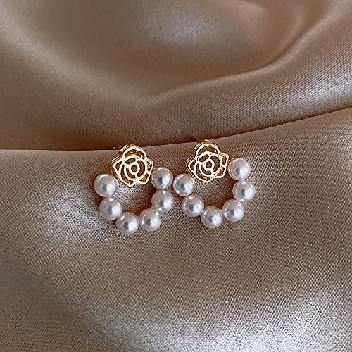 JIUXIAO Pendientes de Perla de Flores para Mujer Y Cristal Rosa Flor Copo de Nieve circón Pendiente Chica Personalidad joyería Regalos
