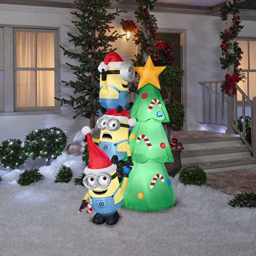 Inflatable Minions and Christmas Tree