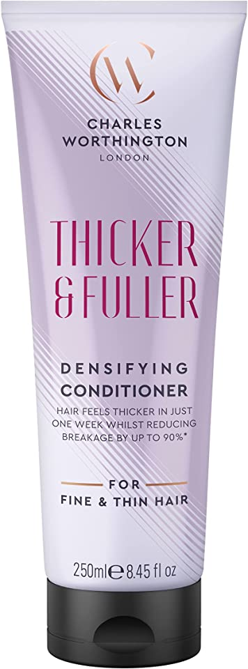 Charles Worthington Thicker and Fuller Densifying Conditioner, Hair Thickening Conditioner for Fine Hair, Hair Thickening Products for Women and Men, Salon Hair Repair, 250 ml