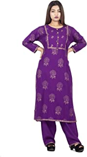 A TEX INDIA Women's Rayon Purple Printed Straight Kurti with palazzo(ATI_1158_Purple)