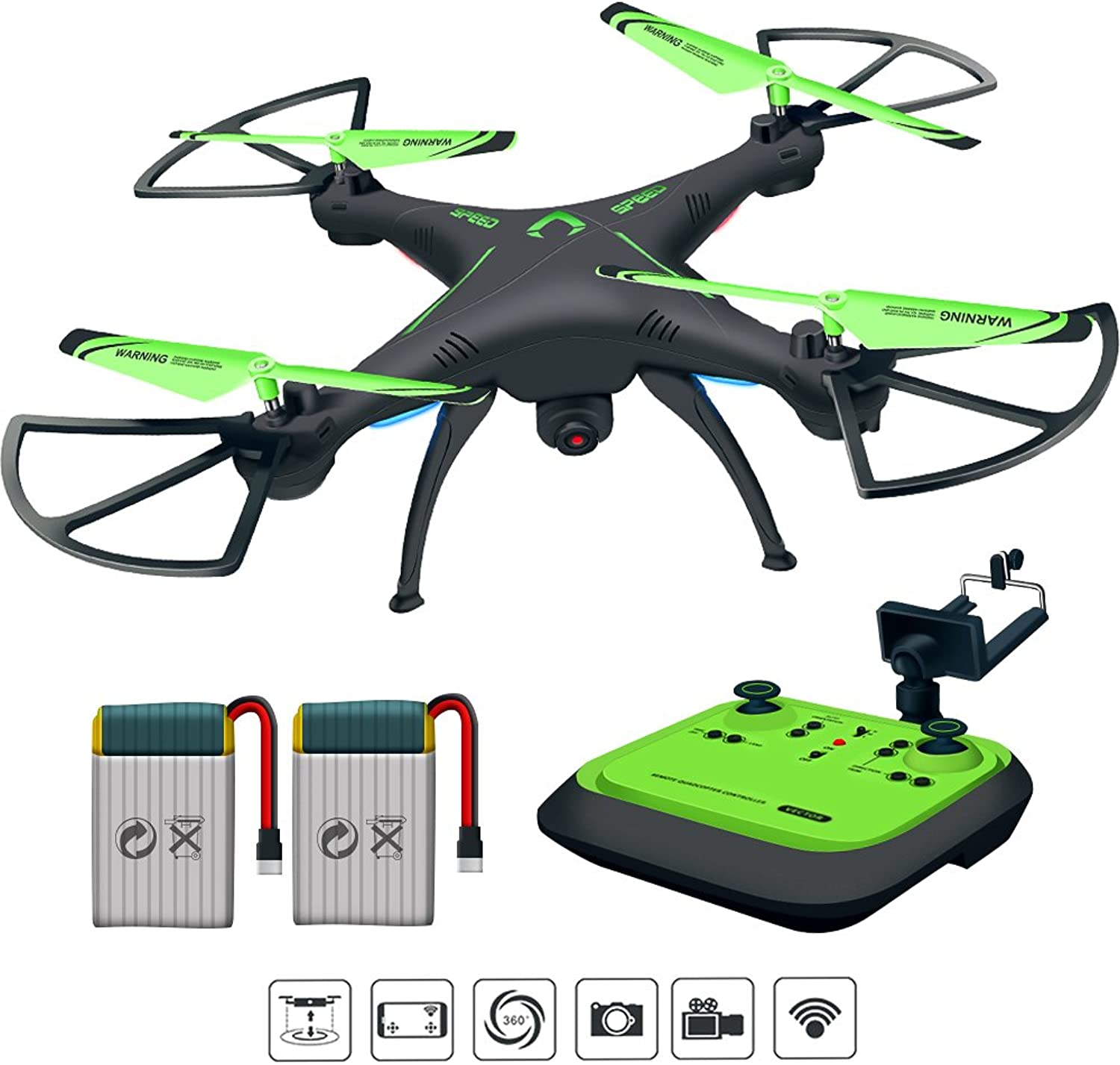 HonorY Drone for Beginners, FPV Remote Control Quadcopter Drone with Onekey Land and Headless Mode, Drone with Camera Live Video 720P HD Camera Drone for Kids Adults Beginners (Green)