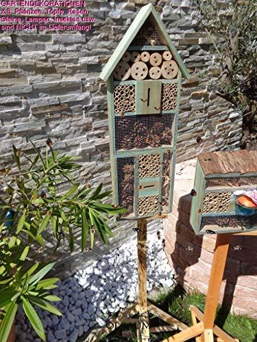 1x XXL insektenhotel, türkis blau, Bienenhaus Spitzdach HOCH, mit Standfuß UND TRÄNKE insektenhotel