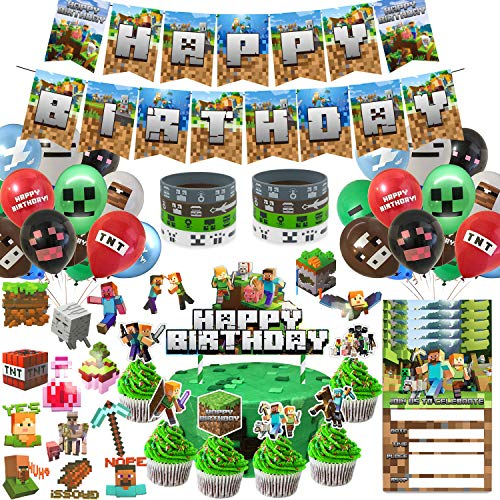 Pixel Style Gamer Birthday Party Supplies for Game Fans, 125 Pcs...