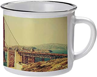 Vintage Stylish Enameled Cup,Old Film Featured Golden Gate Bridge Suspension Urban Path Construction Scenery for Daily Use,2.9″W x 3.1″H
