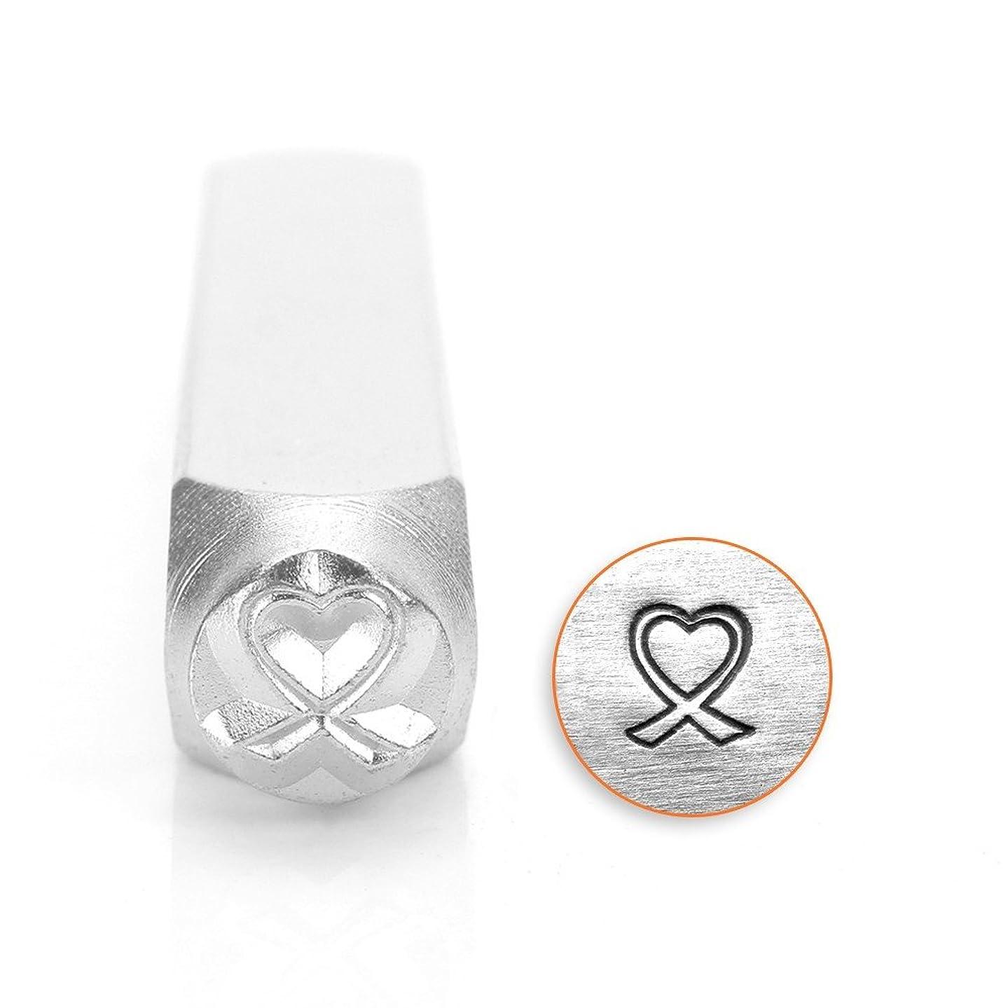 ImpressArt- 6mm, Heart Shaped Breast Cancer Ribbon Metal Stamp