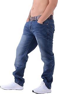 Uomo Crosshatch NUOVO Finotto DI MARCA denim jeans con cintura