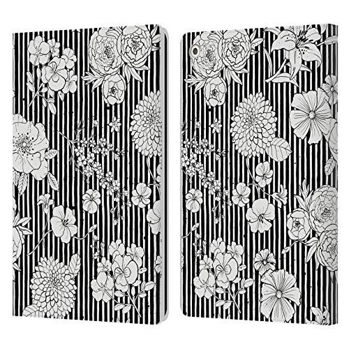 Head Case Designs Licenciado Oficialmente Ninola Stripes BW Floral Patterns Carcasa de Cuero Tipo Libro Compatible con Apple iPad 10.2 (2019)/(2020)