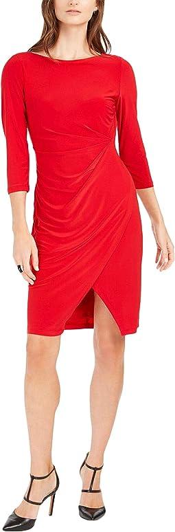 Elbow Sleeve Solid Faux Wrap Sheath Dress