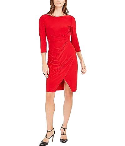 Taylor Elbow Sleeve Solid Faux Wrap Sheath Dress