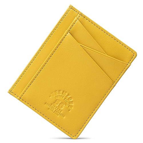Teemzone Minimalist RFID Mens Slim Wallet Genuine Leather Pocket Credit Card Case Holder