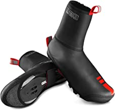 TEUME Bike Shoe Covers Cycling Overshoes, Winter Proof and Water Resistance PU Leather with Fleece Thermal Lining, Velcro Snap,Reflecetive Piece,Kevlar Sole(L/XL)