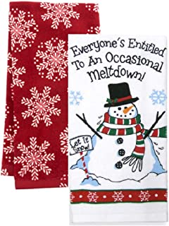 Loving Home Everyone's Entitled to an Occasional Meltdown Snowman Snowflake Dishtowel Set of 2 Tea Towels