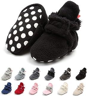 Meckior 新生儿女婴男童保暖羊毛冬靴*步行者拖鞋 E-black With Hook&loop 0-6 Months Infant