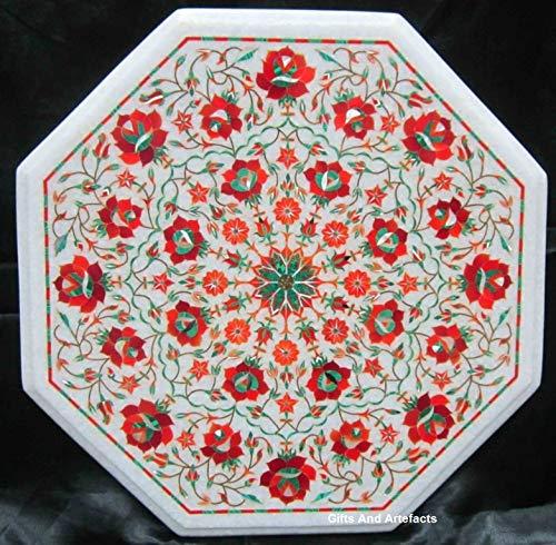Cadeaus en artefacten Octagon marmer salontafel tafelblad bijzettafel top Pietra Dura kunst met rode jaspis kostbare edelstenen bloemen ontwerp toe te voegen stijlvolle look onder aan uw gast, 18 inch
