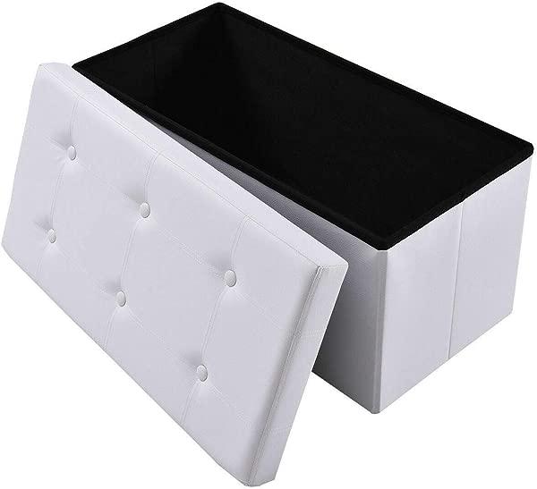 30 优雅经典设计白色人造革长方形折叠储物凳卧室客厅搁脚凳脚凳走廊入口通道鞋长凳家居组织者口音家具