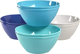Fresco 6-inch Plastic Bowls for Cereal or Salad | set of 8 in 4 Coastal Colors