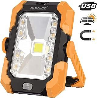 RUNACC - luz de trabajo portátil led Recargable de Solar y USB,con batería y giro de 360°, 1000 lúmenes, Mango magnético,4 modos
